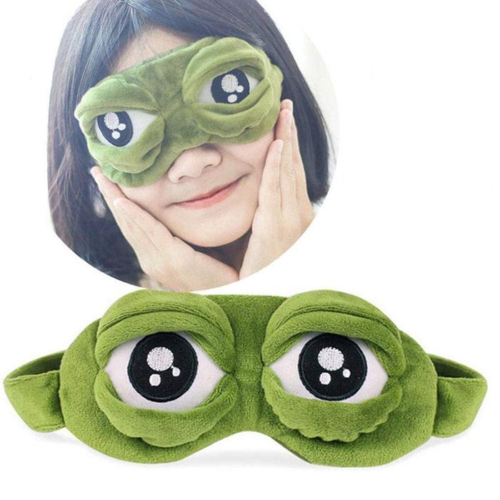 Žabie maska na oči na spanie zelená pre deti