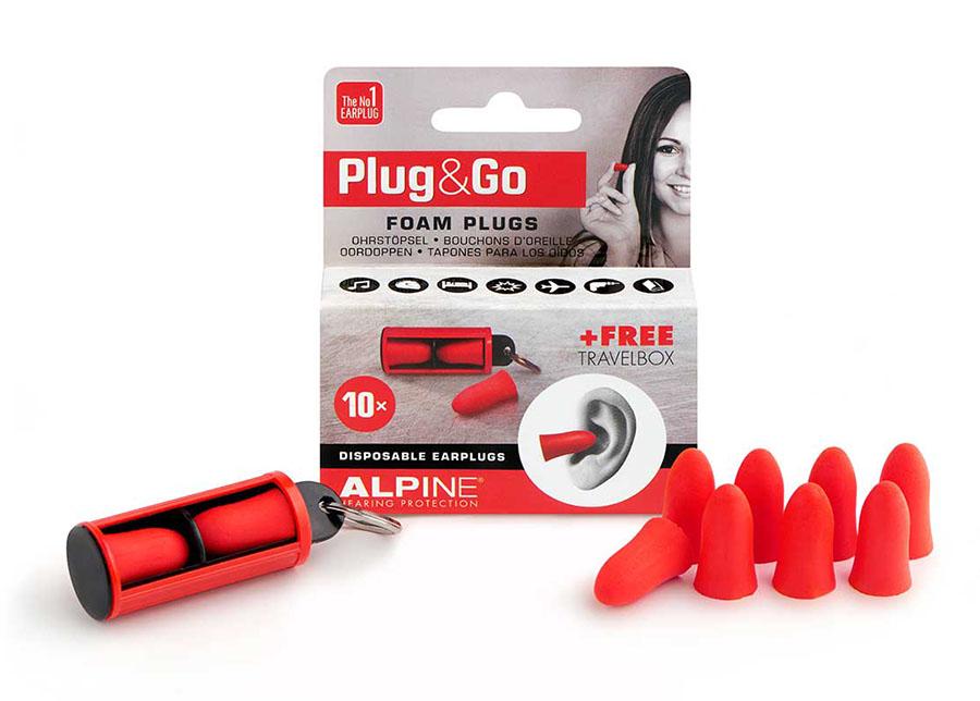 Alpine Plug and Go Pěnové špunty do uší červené barvy obsah